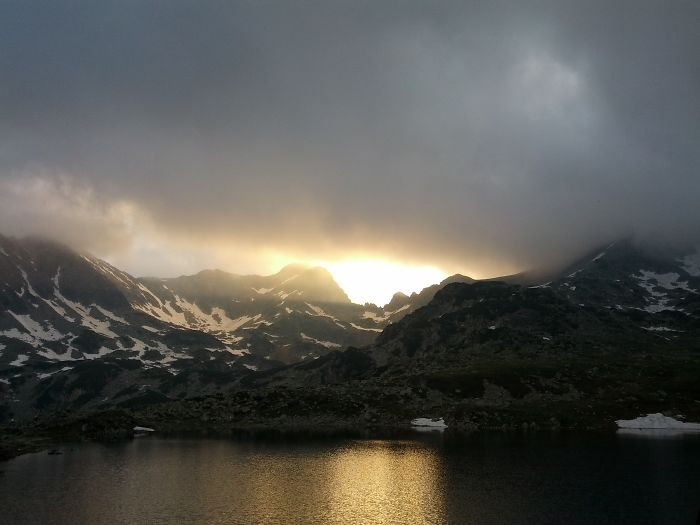 Retezat Mountains, 2000m Above Sea Level. View Of Bucura Lake After Rain In The Afternoon.