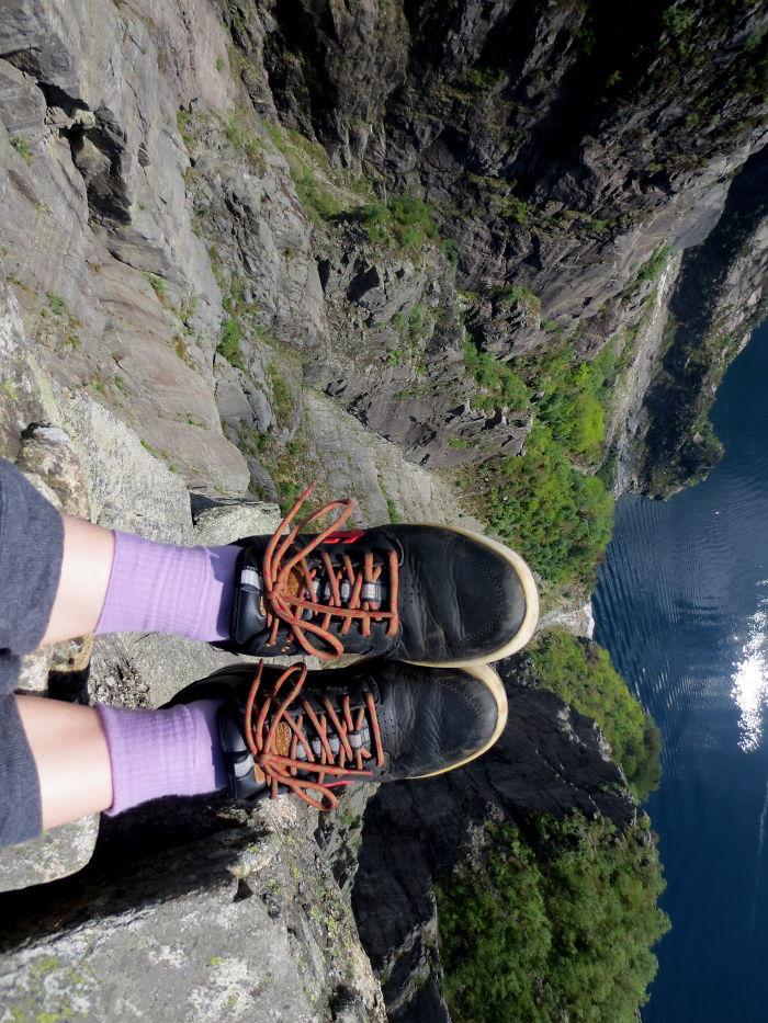 Over The Edge Of The Pulpit Rock (preikestolen), Norway