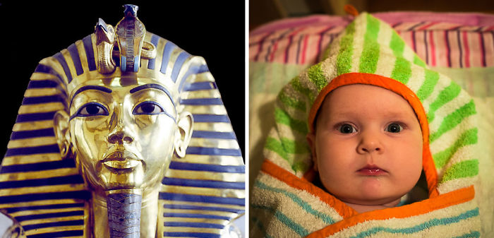 Baby Girl Looks Like Tutankhamun's Mask