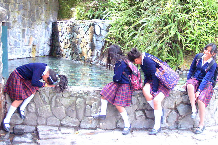 Baños Ecuador~ School Girls Dipping Their Hair In Holy Water