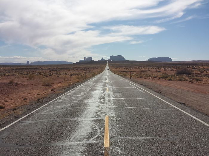 Road 163 Towards The Monument Valley National Park, Utah, Usa