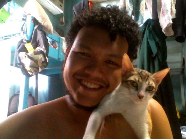 Cat Cuddling Selfie