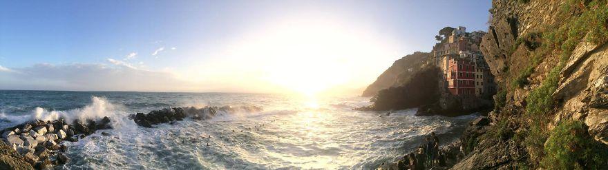 Riomaggiore At Sunset. Cinque Terre Italy