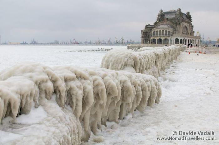 Frozen Black Sea And Casino Constanta