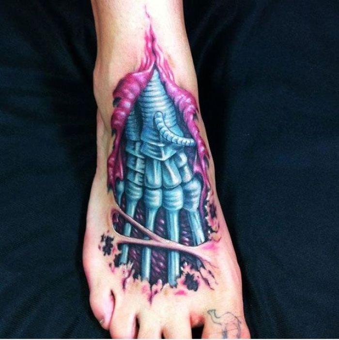3d Cyborg Foot Tattoo
