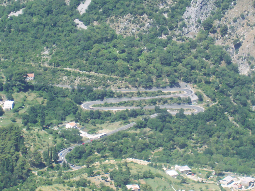 Road Above Kotor, Montenegro, Shaped Like The Letter M In Honour To Montenegrin Queen Milena