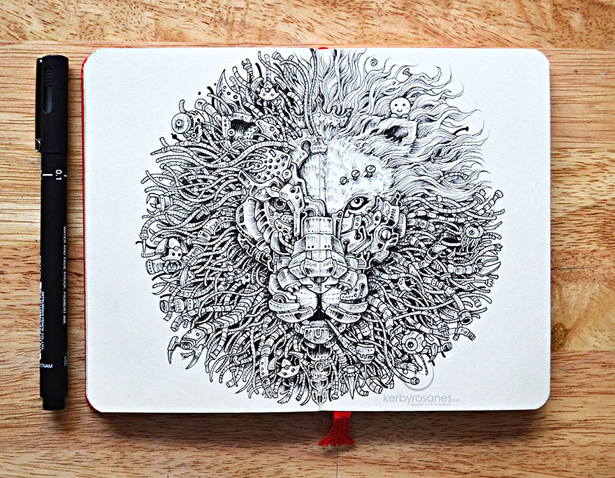 New incredibly detailed pen doodles by kerby rosanes for Kerby rosanes