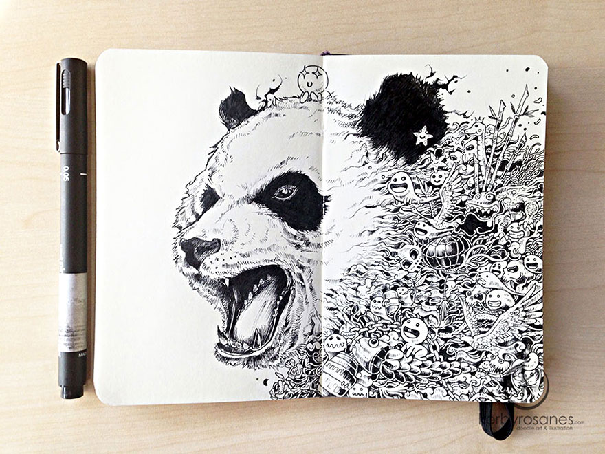 New incredibly detailed pen doodles by kerby rosanes for Cool detailed drawings