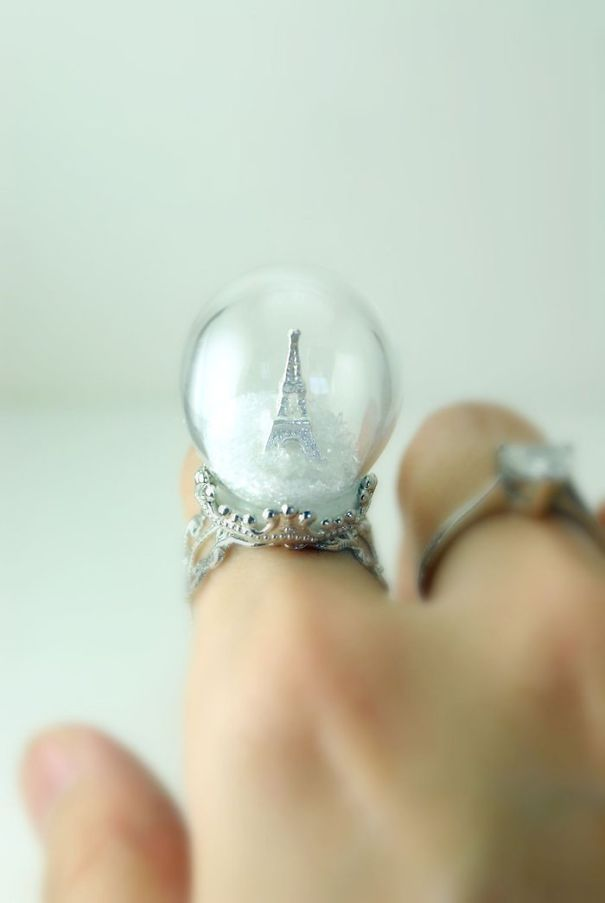 Winter In Paris Ring - Snow Globe - Eiffel Tower Ring