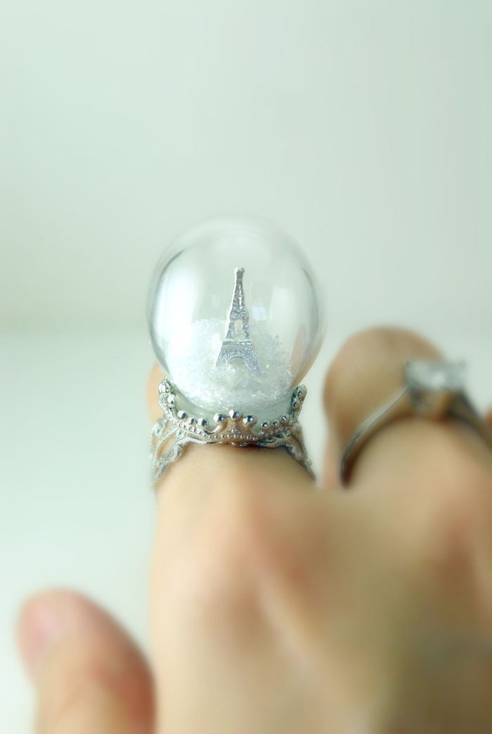 winter in paris ring snow globe eiffel tower ring