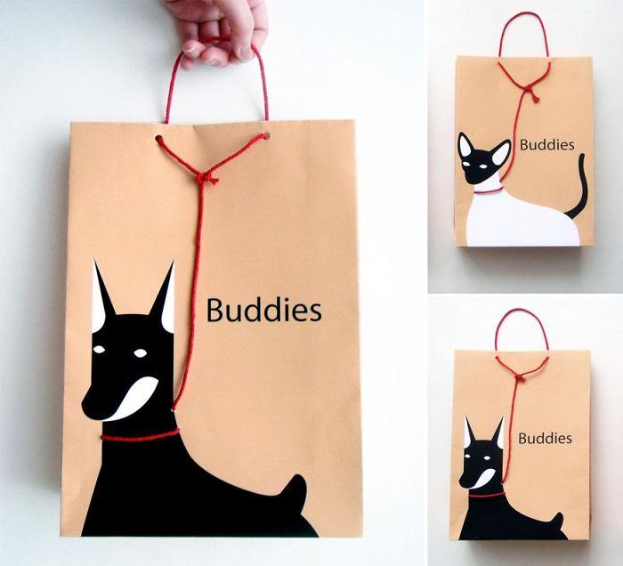 Dog/cat On A Leash Shopping Bag
