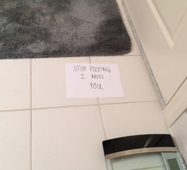 Leaving Love Notes In The Bathroom