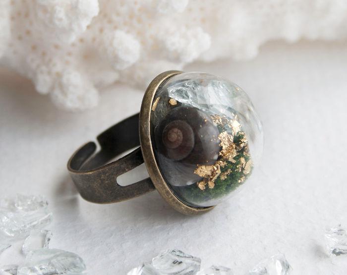 Snail In A Forest Terrarium Ring