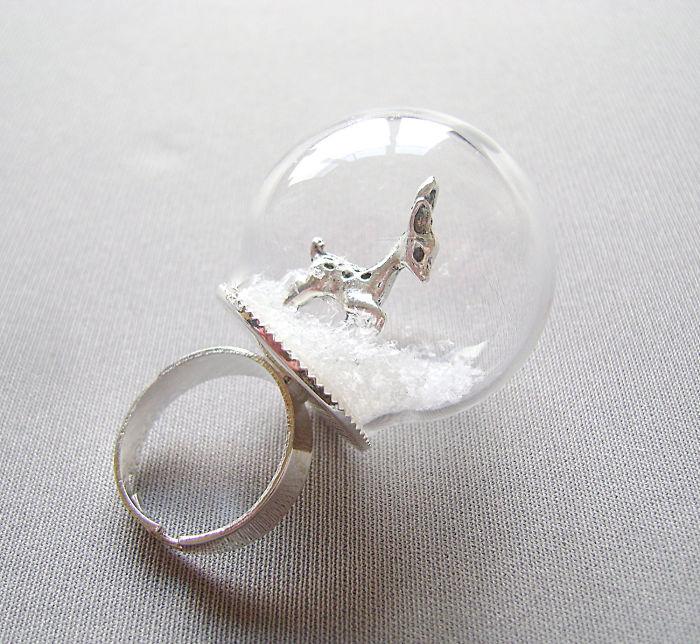 Bambi Snow Globe Ring