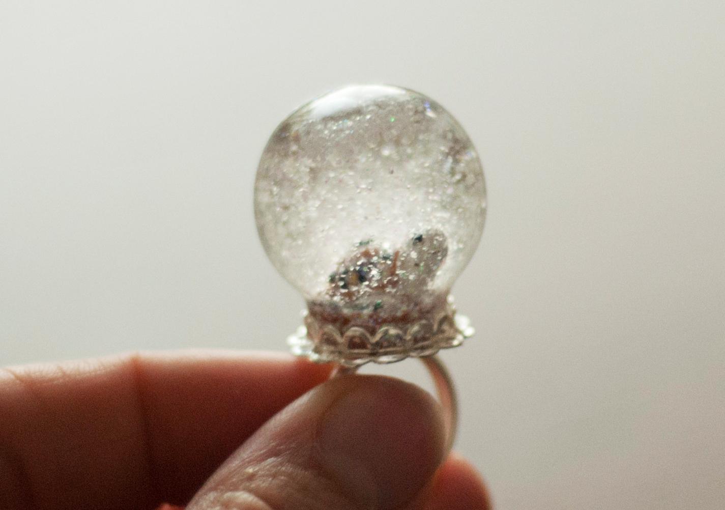 Turtle Snow Globe Ring