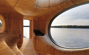 Elegant Grotto Sauna In Canada With A Stunning Window View