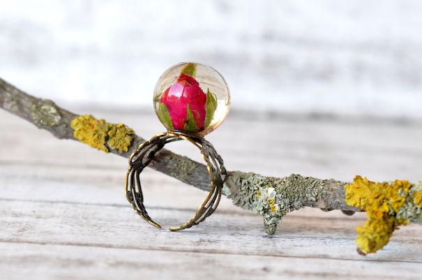 Real Rosebud Ring