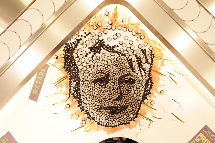 President Of Lithuania Dalia Grybauskaite From 1048 Pieces Of Sushi By Jolita Vaitkute