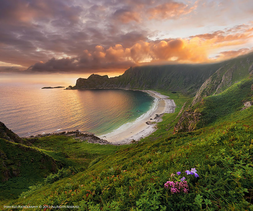 Høyvika Beach On Andøya, Vesterålen In Northern Norway