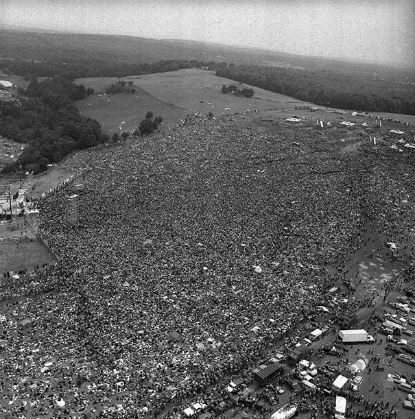 Massive Crowds Gather For The First Woodstock, 1969