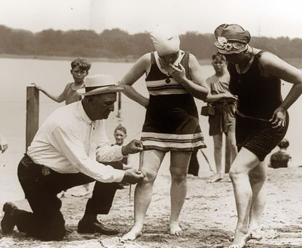 Measuring Bathing Suits, If They Were Too Short, Women Would Be Fined, 1920's