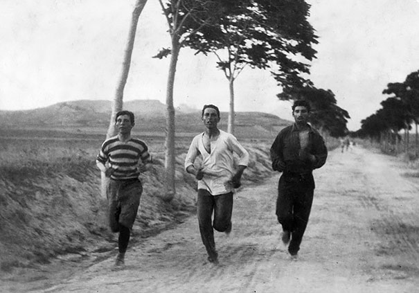 Three Men Run In The Marathon At The First Modern Olympic Games, 1896