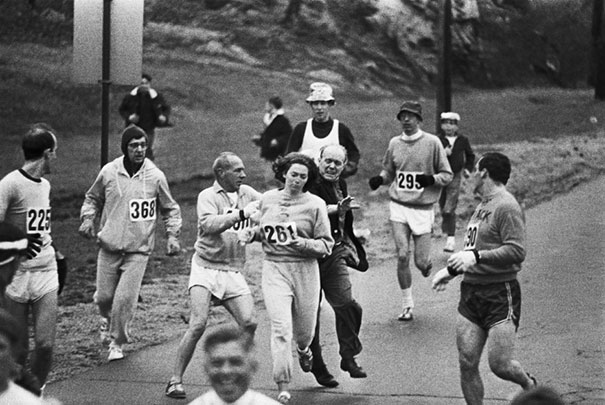 Race Organizers Attempt To Stop Kathrine Switzer From Competing In The Boston Marathon. She Became The First Woman To Finish The Race, 1967