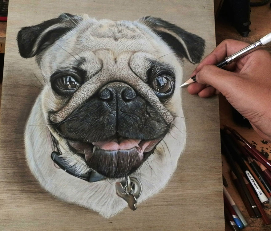 dedf39679 DIY  Self-Taught Artist Creates Hyper-Realistic Drawings On Wooden ...
