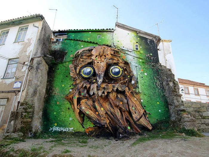 Portuguese Street Artist Turns Junk Into Amazing Owl Sculpture