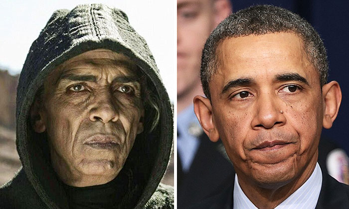 "President Barack Obama And The Devil Played By Actor Mehdi Ouzaani On TV Series ""The Bible"""