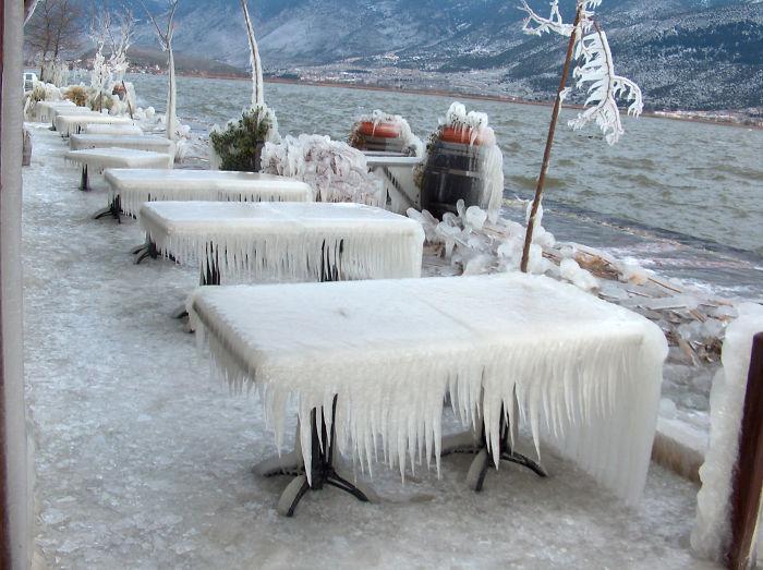 Side Tables, Lake, Ioannina, Greece.