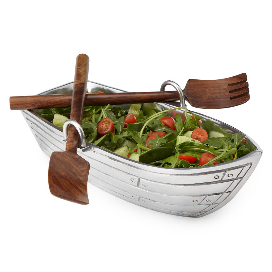 Row Boat Illustration Row Boat Salad Bowl With Wood