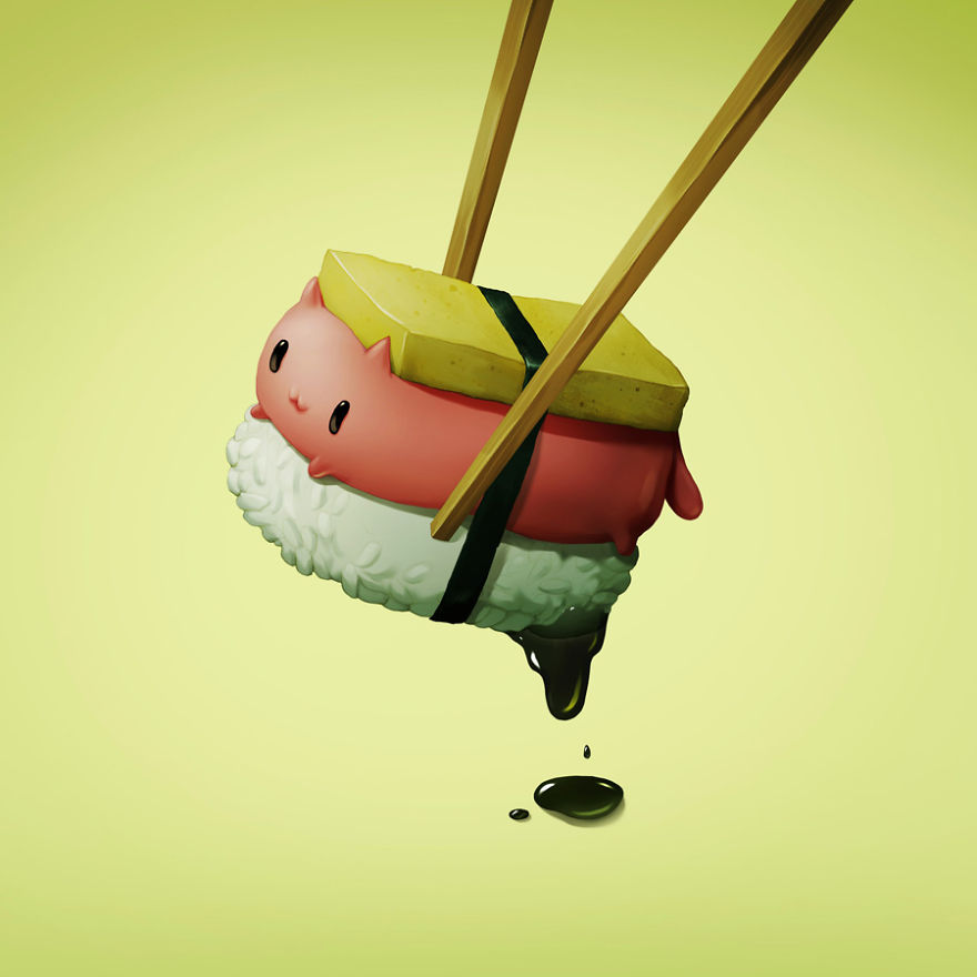 cute animated sushi