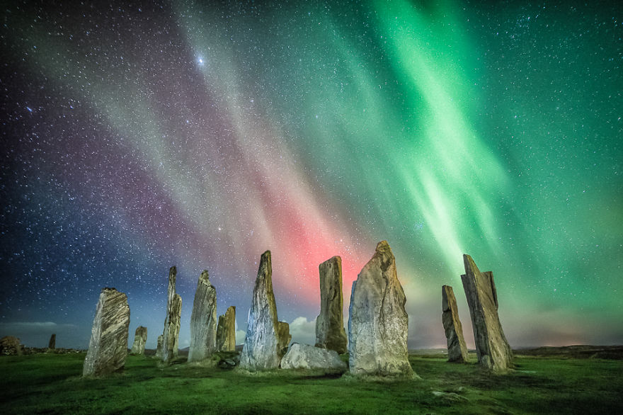 Aurora Over The Callanish Standing Stones, Isle Of Lewis