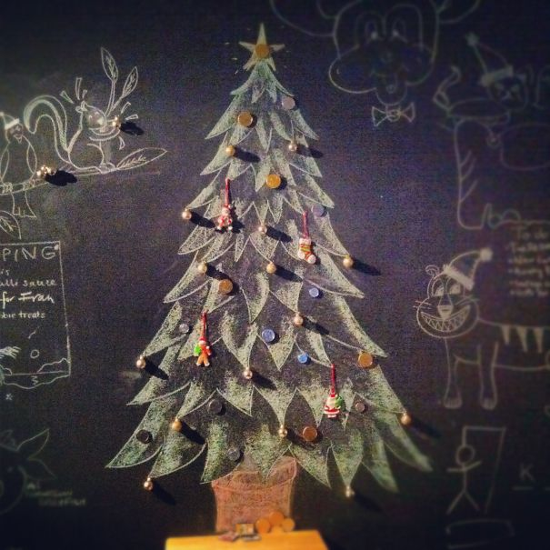 Chalk Wall & Chocolate Coins Christmas Tree