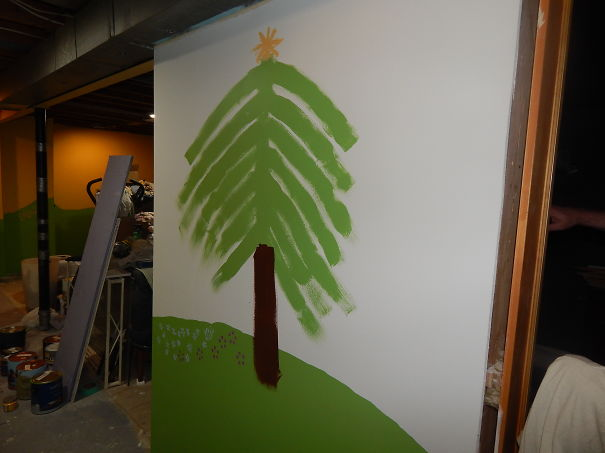 Painted Playroom Tree (because A Flood Got Our Other Tree) Painted By 10 Year Old Son