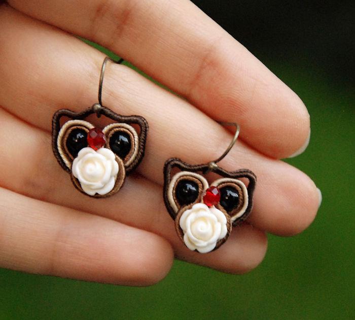 Fiber Owl Earrings