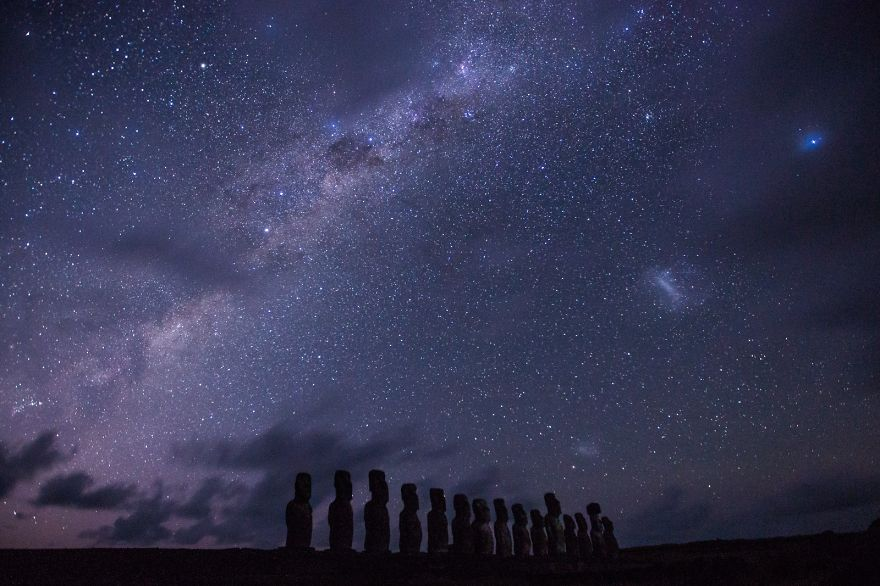 Surreal Night At Easter Island