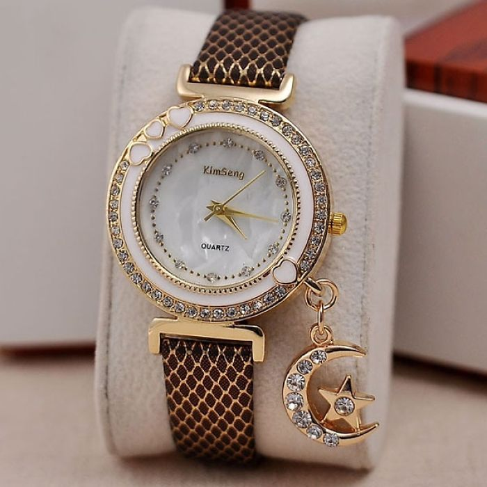 Fashion Jewelry Rhinestone Moon Pendant Watch