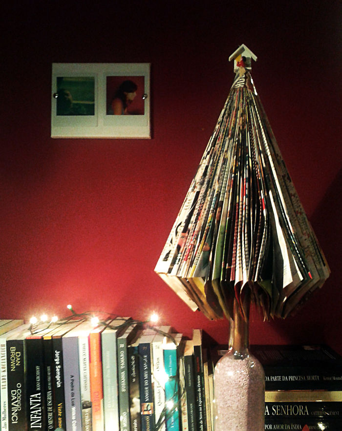 Christmas Tree Made With Magazines