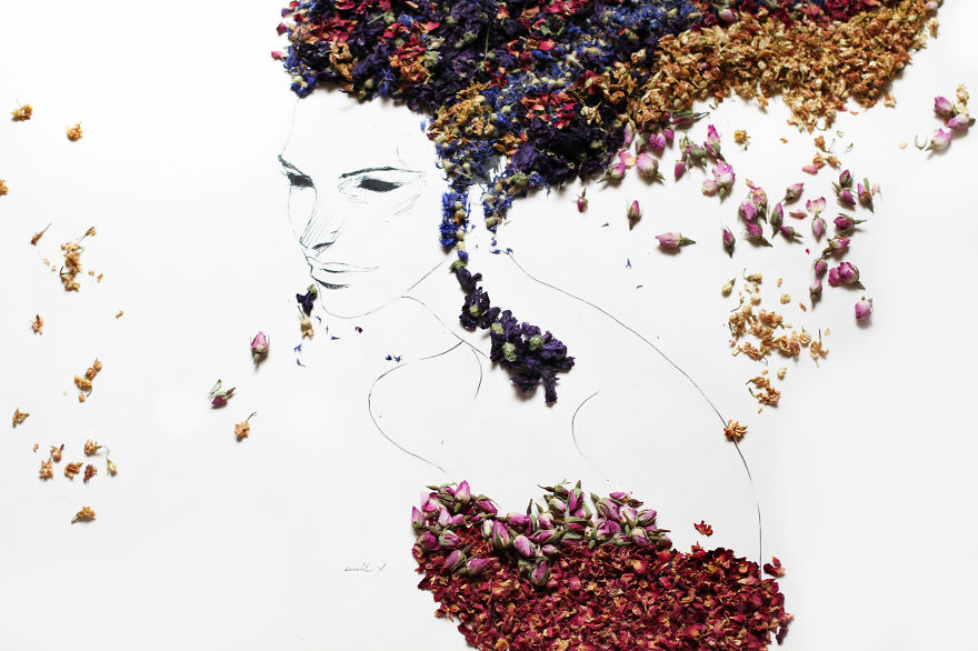 Beautiful Portraits Made Of Various Herbs And Dried Flowers | Bored Panda