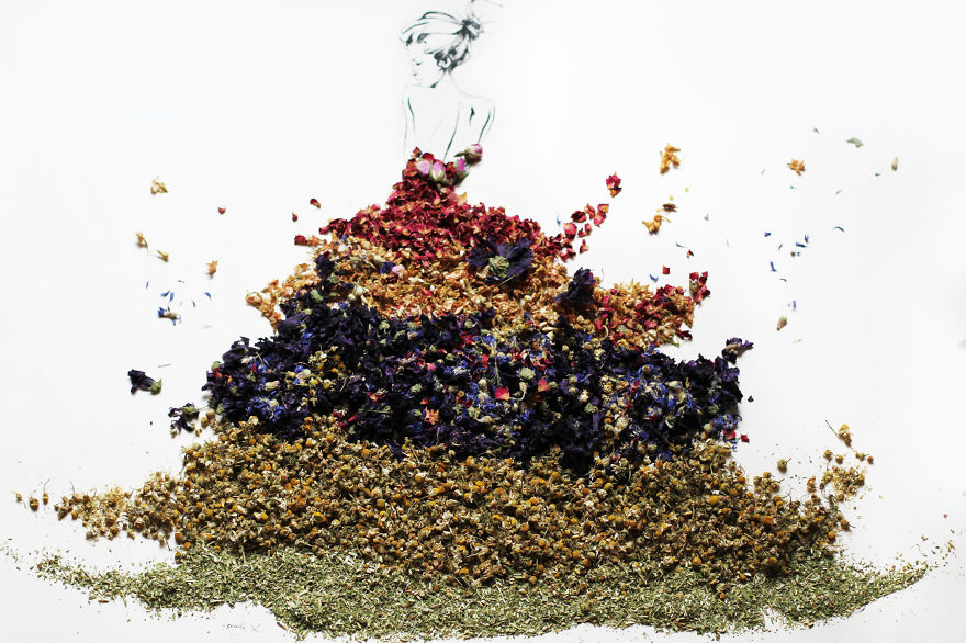 Beautiful Portraits Made Of Various Herbs And Dried ...