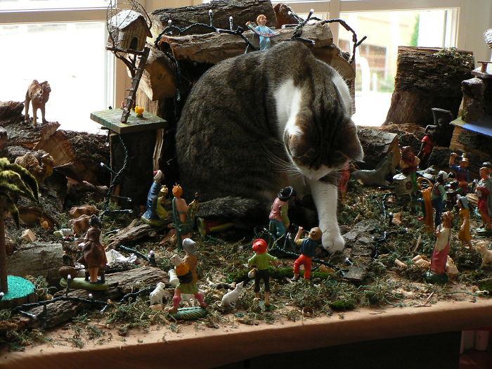 A Tyrannosaurus In A Nativity Scene