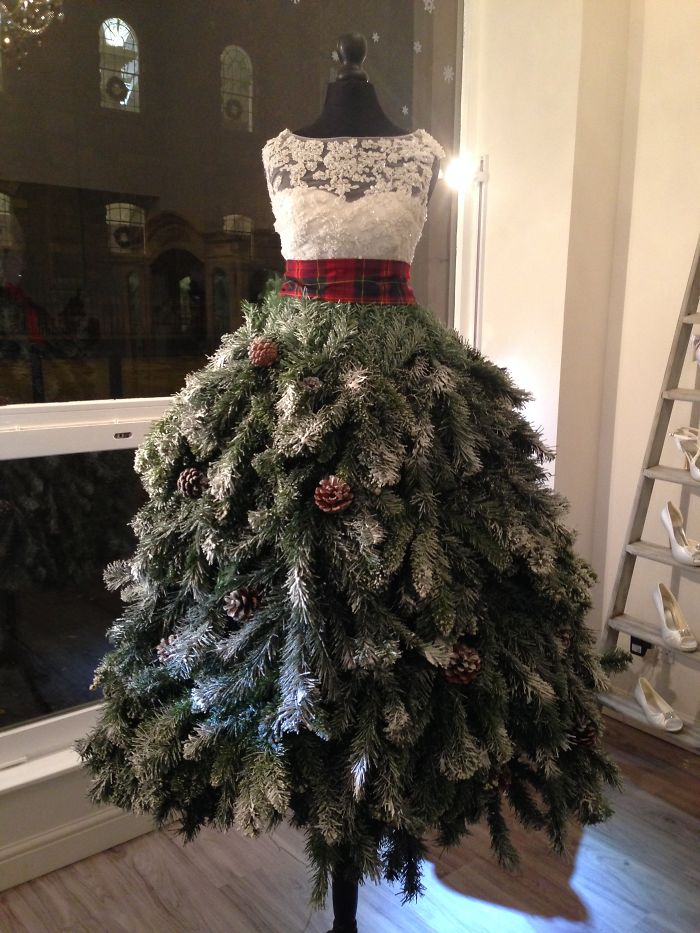 Christmas Tree Dress – Karen Elizabeth Bridal Window Display