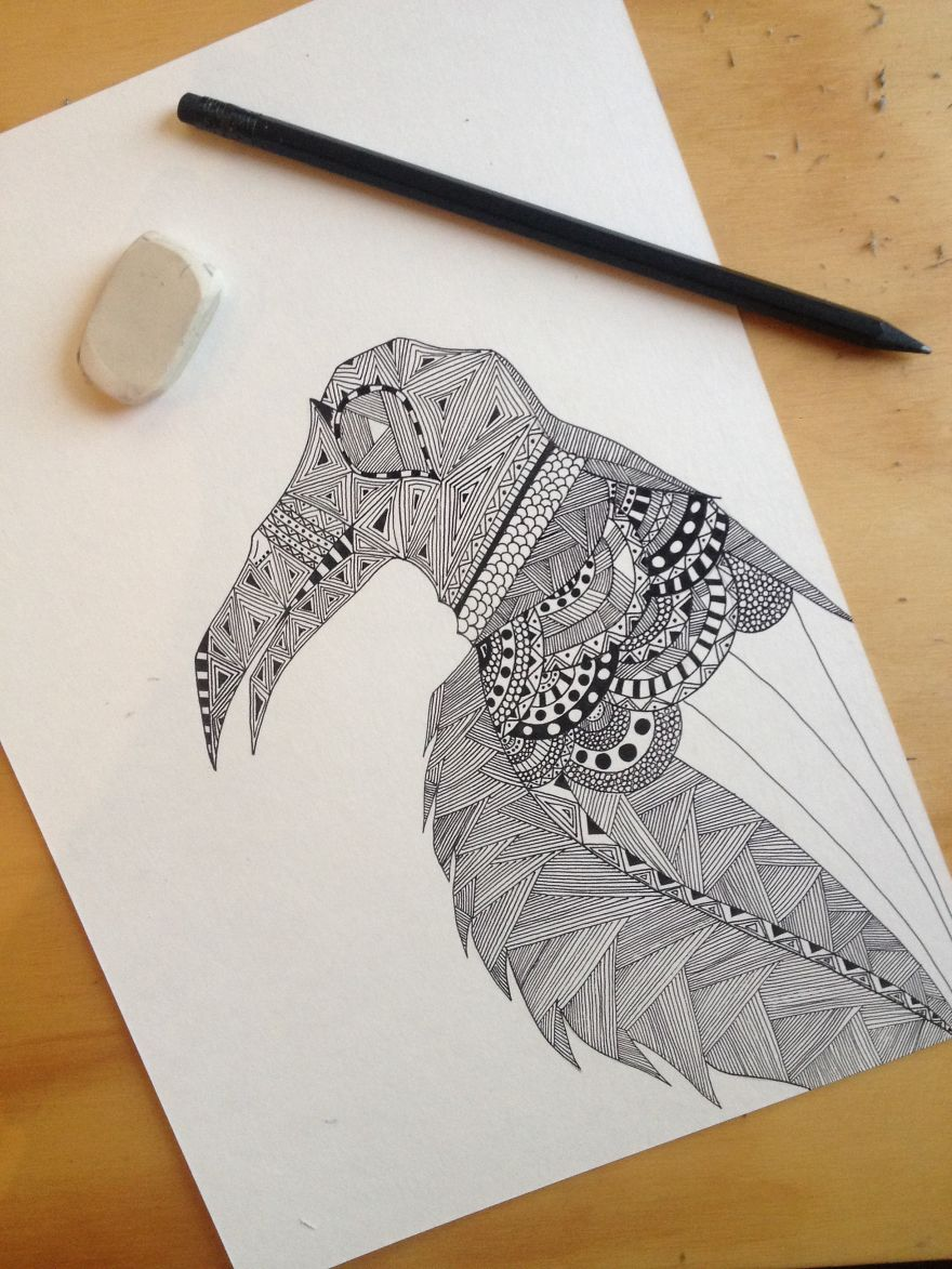 Quickie Black Ink Pen Doodles: Patternized Objects And Animals