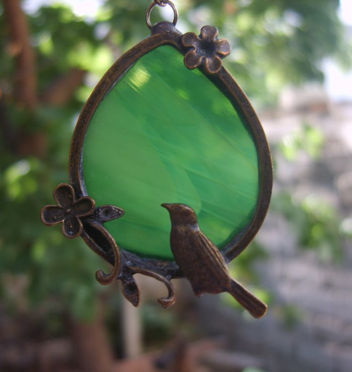 Bird Necklace - Green Stained Glass