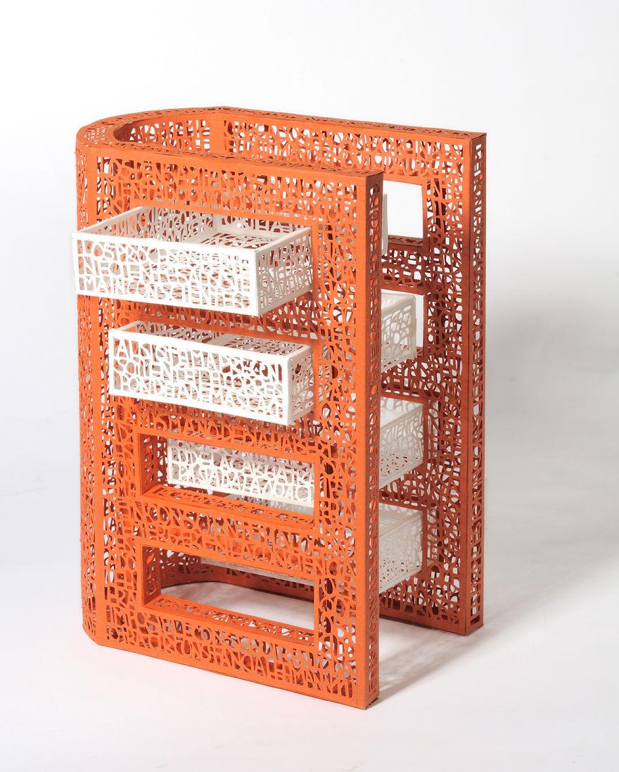 """Pablo Lehmann - """"Thesaurus"""" (21 X 15 X 19 Cm.) Cut-Out Paper 2011"""