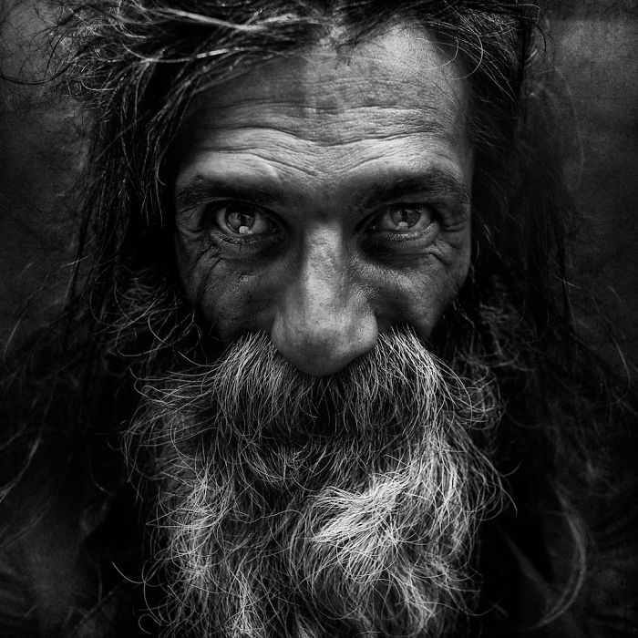 His collection of black and white portraits of homeless people is unique and stunning he depicts a glimpse of hope in the eyes of his subjects