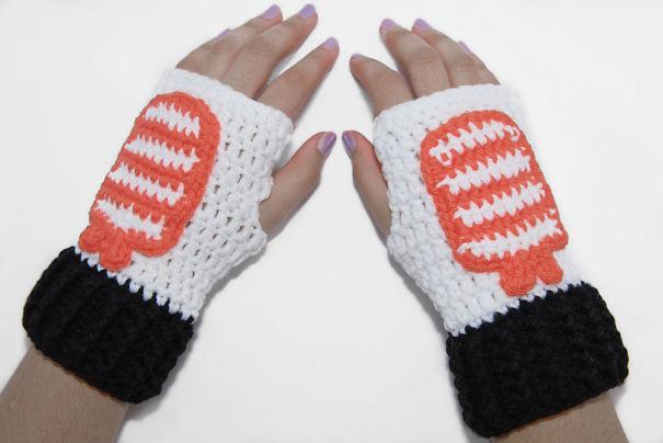 Sushi Fingerless Gloves