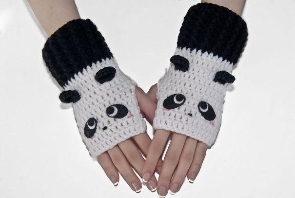Panda Fingerless Gloves